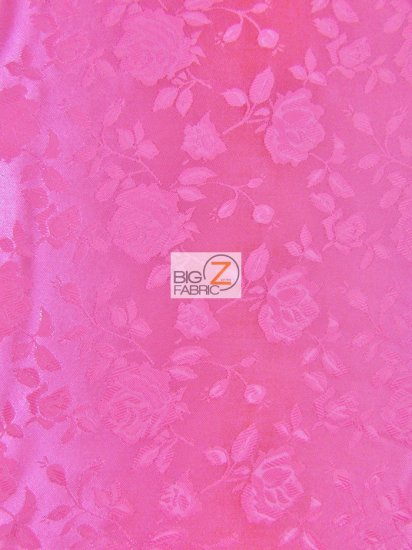 Floral Rose Jacquard Satin Fabric / Neon Pink / Sold By The Yard
