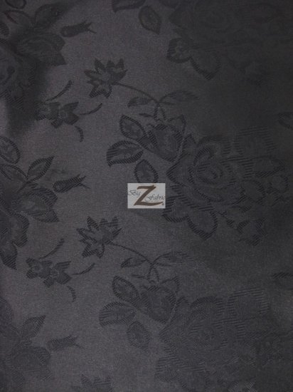 Floral Rose Jacquard Satin Fabric / Black / Sold By The Yard