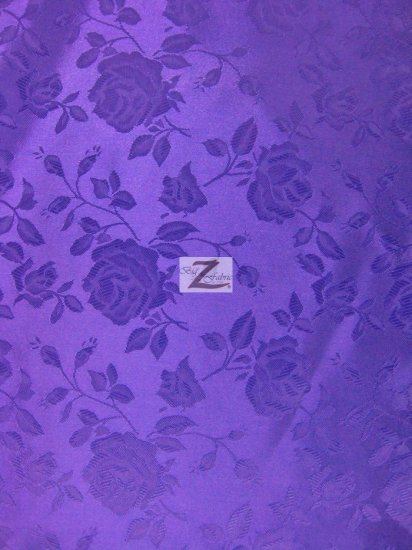 Floral Rose Jacquard Satin Fabric / Purple / Sold By The Yard
