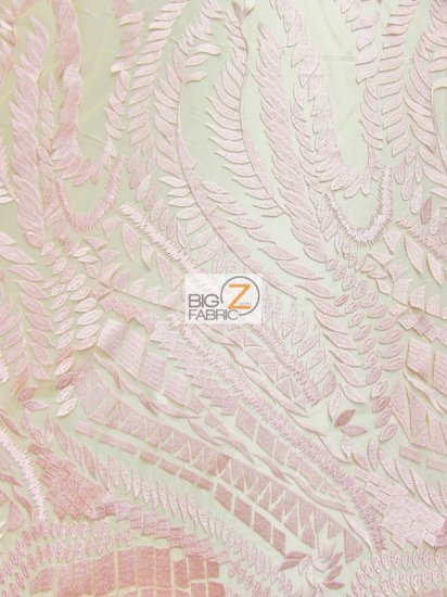 Floral Rainforest On Nude Mesh Fabric / Pink / Sold By The Yard