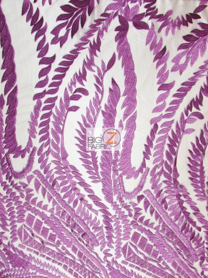 Floral Rainforest On Nude Mesh Fabric / Purple / Sold By The Yard
