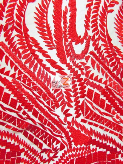 Floral Rainforest On Nude Mesh Fabric / Red / Sold By The Yard