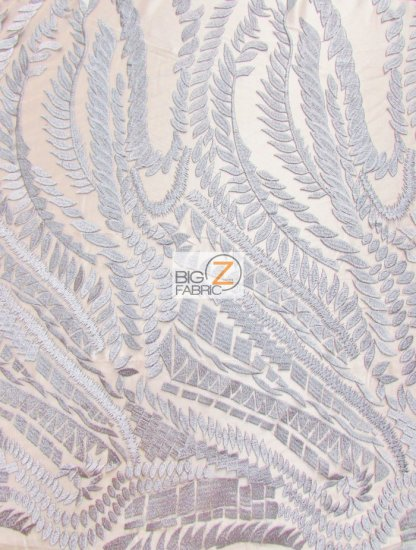 Floral Rainforest On Nude Mesh Fabric / Silver / Sold By The Yard