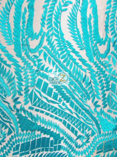 Floral Rainforest On Nude Mesh Fabric / Teal / Sold By The Yard