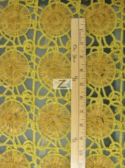 Floral Soutache Embroidered Lace Fabric / Gold / Sold By The Yard