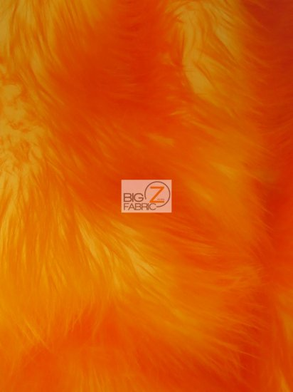 Frozen Shag Faux Fake Fur Long Pile Fabric / Orange / Sold By The Yard