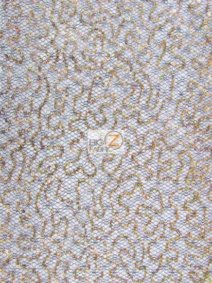 Frenzy Sequins Mesh Fabric / Black/Orange / Sold By The Yard