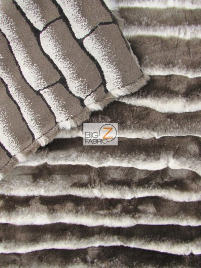 Faux Fake Fur Stripe French Tissavel Like Fabric / Brown/Chocolate / Sold By The Yard