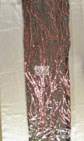 Forest Tree Fashion Sequins Mesh Fabric / Matte Champagne / Sold By The Yard