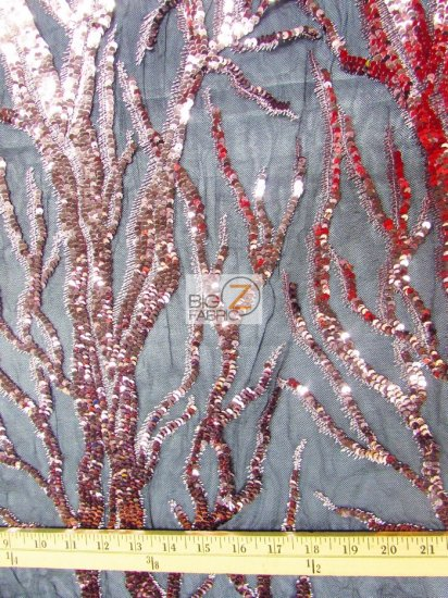 Forest Tree Fashion Sequins Mesh Fabric / Matte Silver / Sold By The Yard
