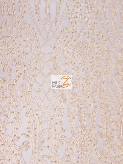 Geometric Damask Pearl Lace Mesh Fabric / Blush / Sold By The Yard