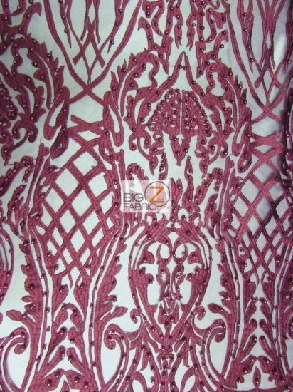 Geometric Damask Pearl Lace Mesh Fabric / Burgundy / Sold By The Yard