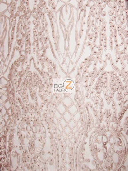 Geometric Damask Pearl Lace Mesh Fabric / Dusty Rose / Sold By The Yard