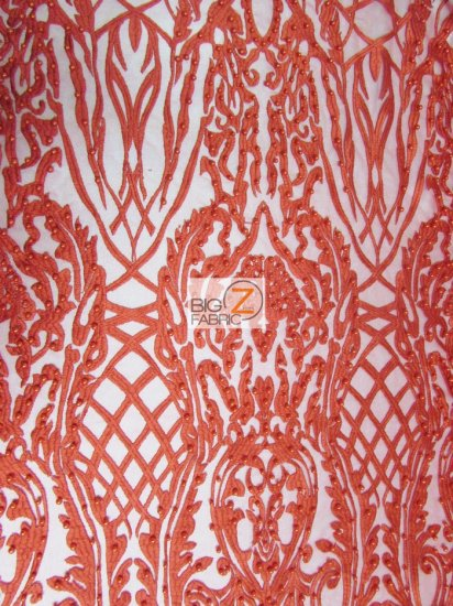 Geometric Damask Pearl Lace Mesh Fabric / Red / Sold By The Yard