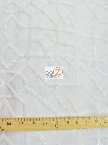Geometric Dubai Sequins Dress Fabric / White / Sold By The Yard