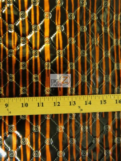 Glossy Diamond Wicked Embossed Vinyl Fabric / Black/Orange Stripes / Sold By The Yard