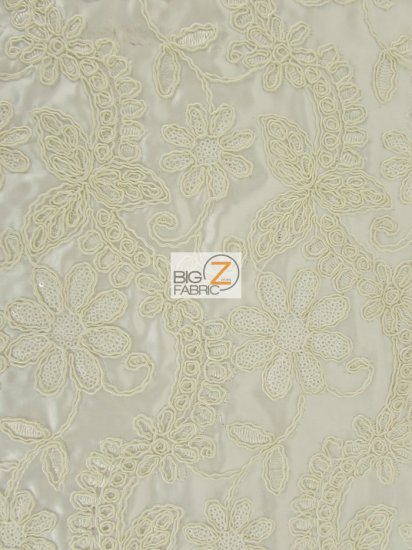 Glamorous Floral Bridal Satin Sequins Dress Fabric / Ivory / Sold By The Yard