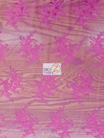 Gorgeous Floral Embroidery Bridal Dress Lace Fabric / Fuchsia / Sold By The Yard