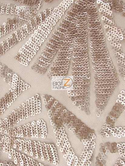 Geometric Mayan Elastic Shiny Sequins Fabric / Champagne / Sold By The Yard