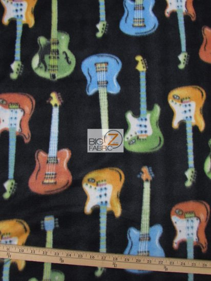 Fleece Printed Fabric Instrument Guitar / Guitars All-Over Black / Sold By The Yard