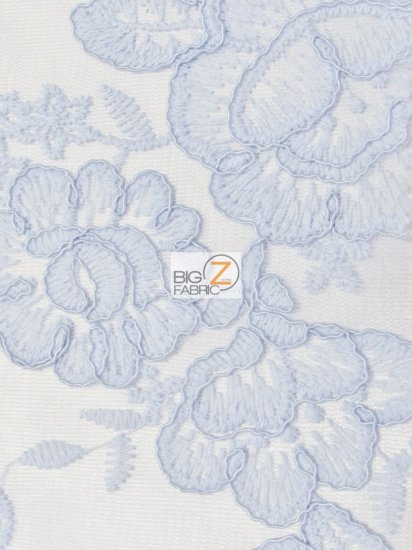 Glamour Rose Floral Lace Mesh Fabric / Baby Blue / Sold By The Yard