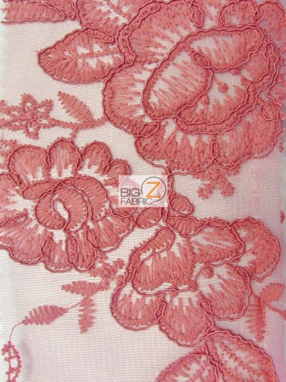 Glamour Rose Floral Lace Mesh Fabric / Coral / Sold By The Yard