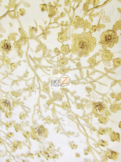 Garden Rose Metallic 3D Floral Lace Fabric / Gold / Sold By The Yard