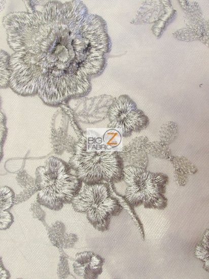 Garden Rose Metallic 3D Floral Lace Fabric / Silver / Sold By The Yard