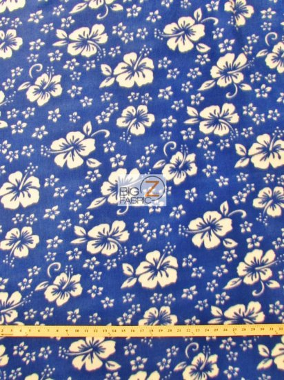 Fleece Printed Fabric Flower Hawaiian / Blue / Sold By The Yard