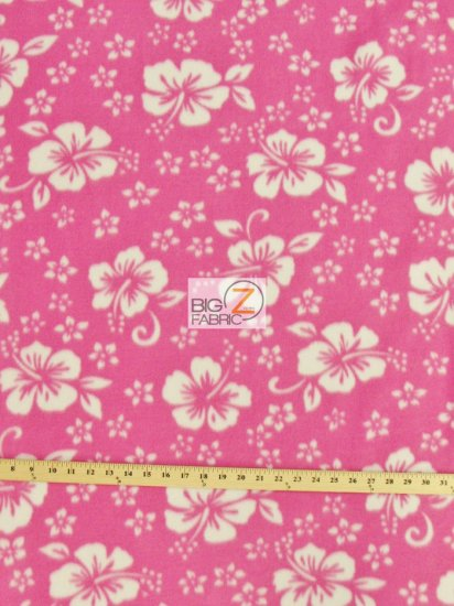 Fleece Printed Fabric Flower Hawaiian / Pink / Sold By The Yard