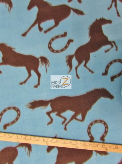 Fleece Printed Fabric Animal Horse / Horseshoe / Sold By The Yard