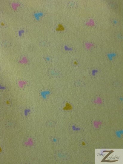 Fleece Printed Fabric Love Heart / Mini Yellow / Sold By The Yard