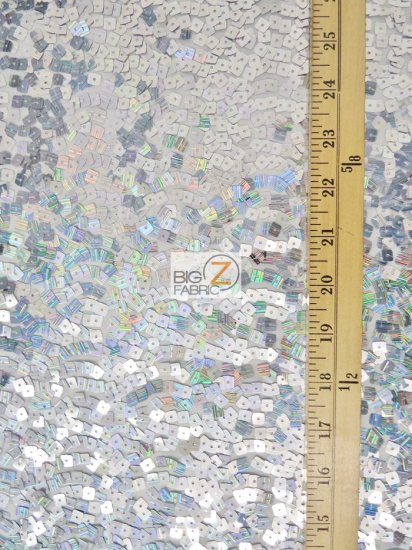 Hologram Square Sequins Spandex Fabric / White/Silver / Sold By The Yard