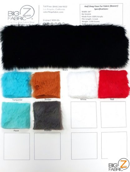 EcoshagTM Half Shag Faux Fur Fabric (Beaver) - Big Z Combo Color Card