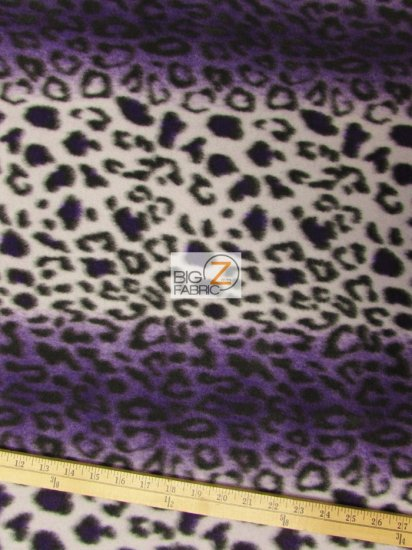 Fleece Printed Fabric Animal Leopard / Purple Snow Leopard / Sold By The Yard