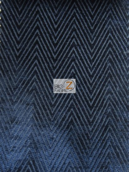 Mini Chevron Upholstery Fabric / Navy Blue / Sold By The Yard
