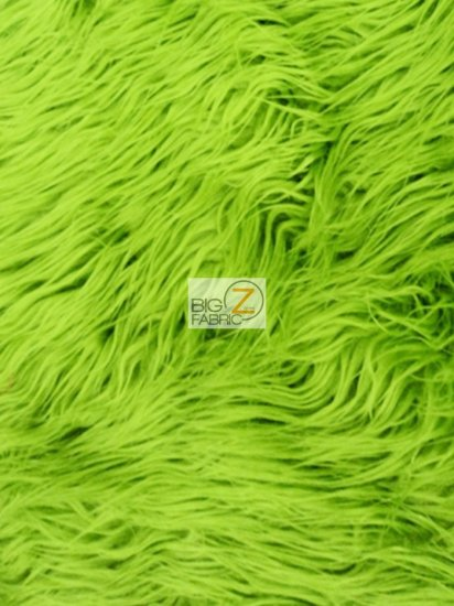 Faux Fake Fur Solid Mongolian Long Pile Fabric / Lime Green / Sold By The Yard