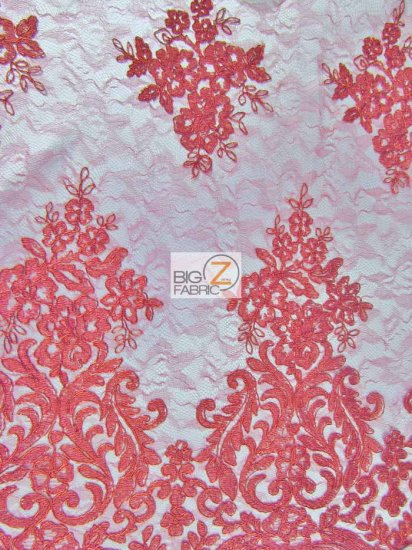 Metallic Floral Damask Sheer Lace Fabric / Red / Sold By The Yard