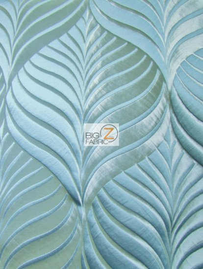 Mint Leaf Upholstery Drapery Fabric / Azure / Sold By The Yard