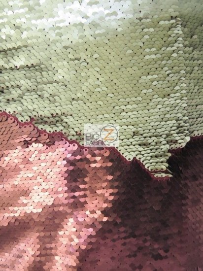 Reversible Mermaid Pearl Sequin Spandex Fabric / Matte Burgundy/Matte Champagne / Sold By The Yard