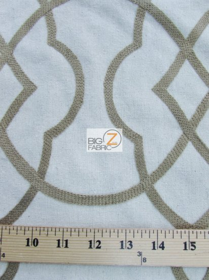 Modern Trellis Poly Linen Blend Upholstery Fabric / Classic Silver / Sold By The Yard