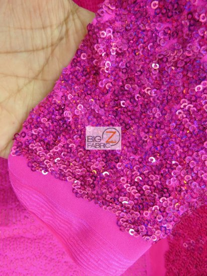 Ocean Wave Sequins Spandex Fabric / Fuchsia / Sold By The Yard