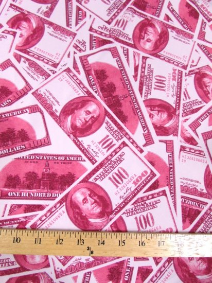Stylish Money Bills Apparel Spandex Fabric / Light Fuchsia / Sold By The Yard