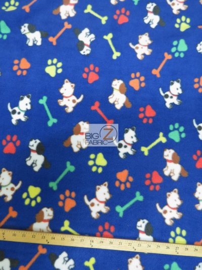 Paw Print Polar Fleece Fabric / Paw & Dogs Royal / Sold By The Yard
