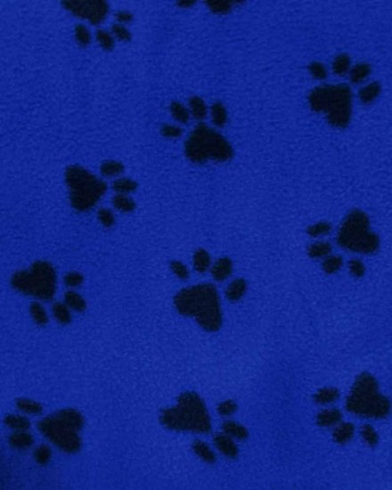 Fleece Printed Fabric Animal Paw / Blue/Black Paws / Sold By The Yard