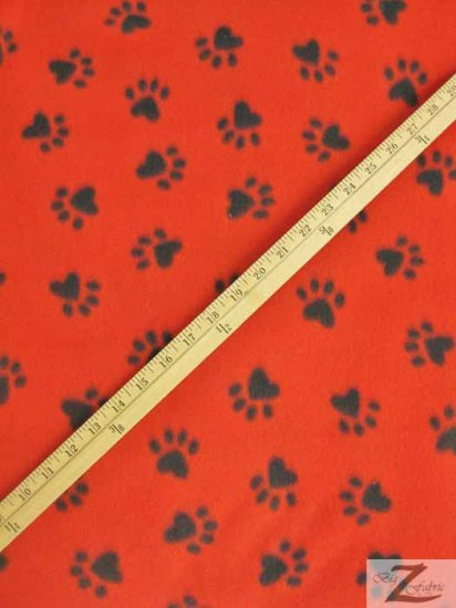 Fleece Printed Fabric Animal Paw / Red/Black Paws / Sold By The Yard