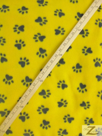 Fleece Printed Fabric Animal Paw / Yellow/Black Paws / Sold By The Yard