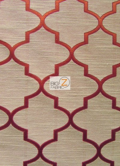 Persian Quatrefoil Upholstery Fabric / Ruby / Sold By The Yard