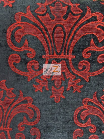 Reversible Damask Chenille Jacquard Drapery Upholstery Fabric / Crimson / Sold By The Yard