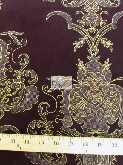 Royal Damask Flocking Velvet Upholstery Fabric / Purple/Gold / Sold By The Yard